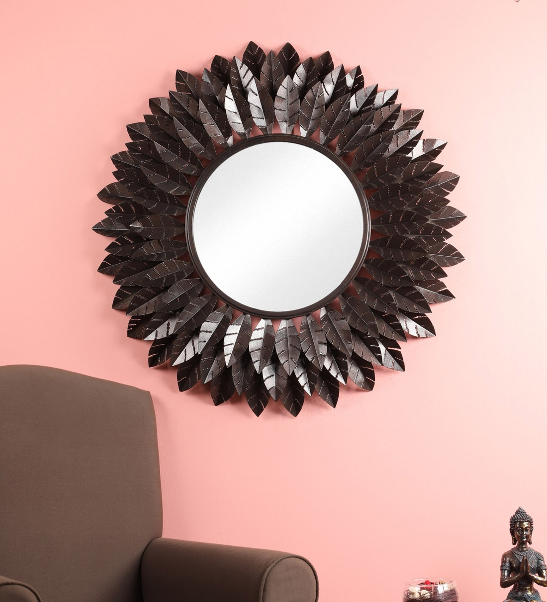 Buy Metal Round Wall Mirror In Silver Colour By Living Ideas Online Round Mirrors Wall Accents Home Decor Pepperfry Product