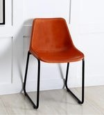 Medina Orange Color Leather Accent Chair