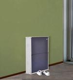 Muscat Metallic Two Door Shoe Rack in Blue Colour