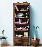 Freemont Book Shelf with Two Drawers in Provincial Teak Finish