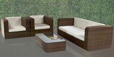 Mediterranean Five Seater Sofa Set with Center Table