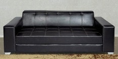 Merveille Three Seater Sofa in Black Leatherette