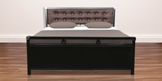 Metal Queen Hydraulic Size Bed with Storage in Black Finish