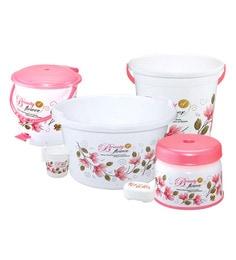 Meded Plastic Pink & White Bathroom Set - Set Of 6