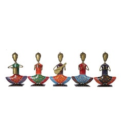 Metal Antique Colourful Musicians -Set Of 5