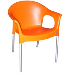 Metallo Cafeteria Chair Set Of Two In Orange Colour