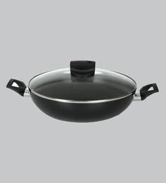 Meyer Safecook Non-Stick 11.8 Inch Black Aluminium Kadhai With Lid ,4310 ML