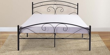 Akina Queen Size Metal Bed In Black Finish By Mintwud
