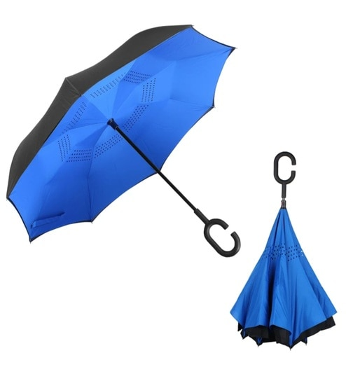91d2ab85ce51 Meded C Shape Handle Pongee Fabric Blue Double Layer Inverted Reversible No  Drip Umbrella