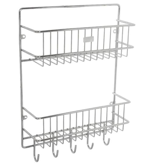 Meded Multipurpose 2 Tier Wall Mounted Kitchen Shelf With 5 Hooks