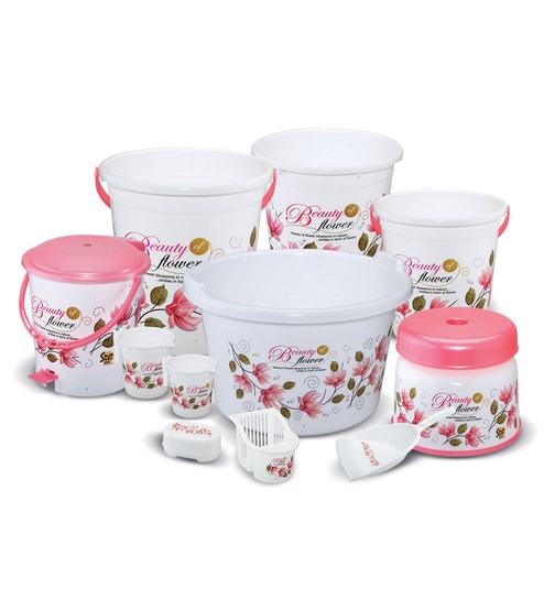 Buy Meded Plastic Pink & White Bathroom Set - Set of 11 Online - Buckets & Tubs - Bath & Laundry - Bath & Laundry - Pepperfry Product