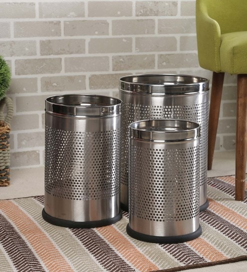 Meded Stainless Steel Perforated Open Dustbin - Set Of 3 (5 L, 7 L & 11 L) ( Mrp- 3000) Now Rs.799