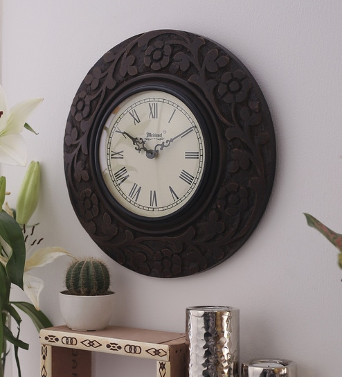 Buy Medieval India Brown Wood Brass 114 Inch Carving Round Wall