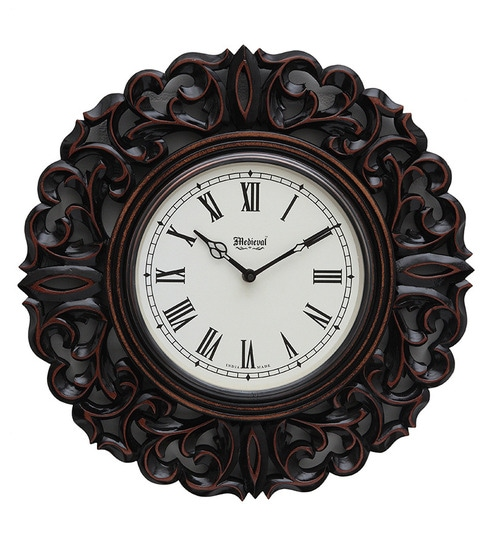 Marvelous Medieval India Round Carved Brown Wood Intricate Work Wall Clock