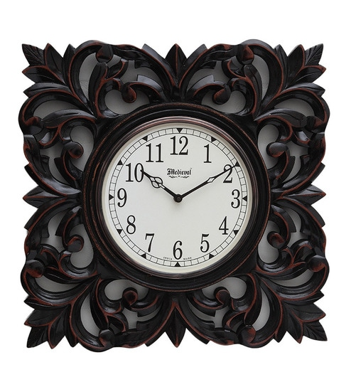 Buy Medieval India Brown Square Wooden Carved Wall Clock Online ... 4f30e9fa60ac