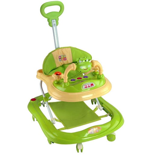 Buy Baby Walker with Adjustable Height and Push Handle Bar in Green