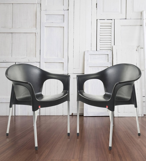 378dfa14322e Buy Metallo Cafeteria Chair Set of Two in Black Colour by Cello ...
