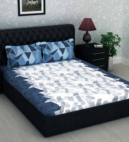 Metro Gold 186 TC Cotton Double Size Bed Sheet with 2 Pillow Covers by  Story@Home