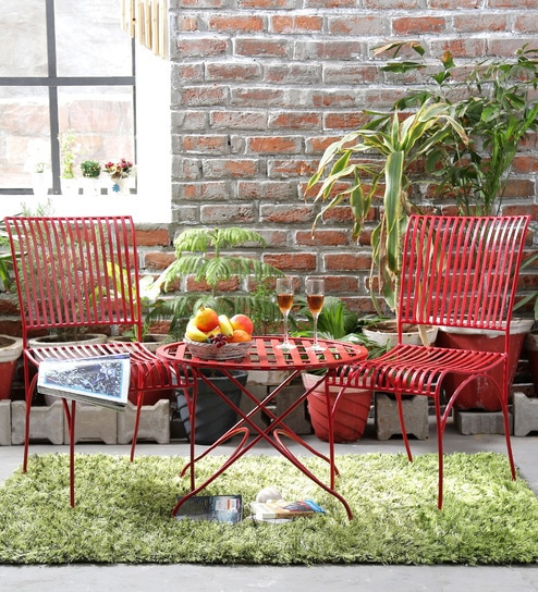 Buy Lisheen Outdoor Garden Set in Red Color by Bohemiana Online