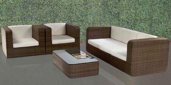 Mediterranean Five Seater Sofa Set With Center Table By Alcanes