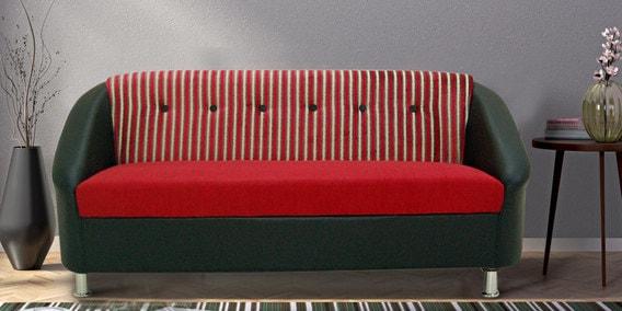 Mexico Three Seater Sofa In Red U0026 Black Colour By Furnitech