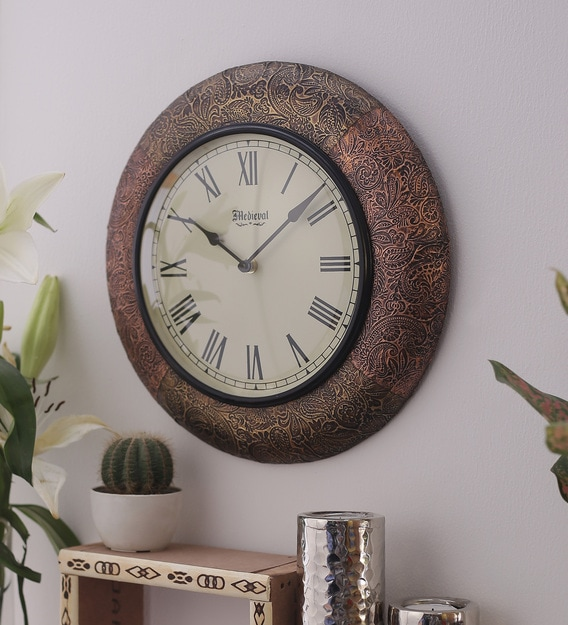 Buy Antique Gold Copper Wooden 11 4 Inch Numeral Round Wall Clock By Medieval India Online Traditional Wall Clocks Wall Clocks Home Decor Pepperfry Product