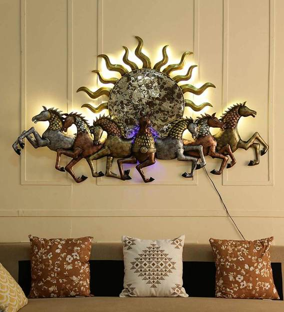 Buy Metal Running Horse Behind Sun In Golden With Led Wall Art By Malik Design Online Wildlife Metal Art Metal Wall Art Home Decor Pepperfry Product