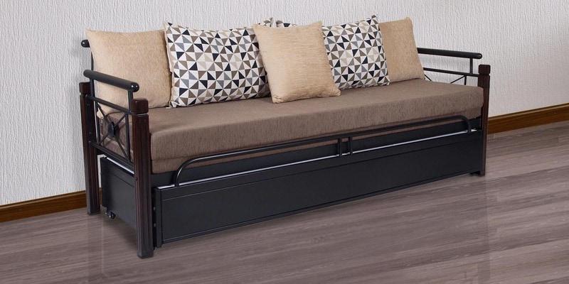 Metallic Sofa Cum Bed with Storage with Grey Mattress by FurnitureKraft