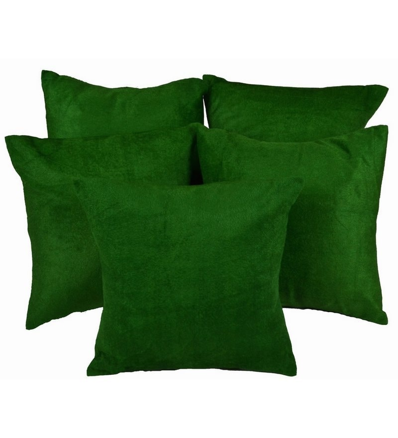 Green Satin 12 x 12 Inch Cushion Covers - Set of 5 by Me Sleep