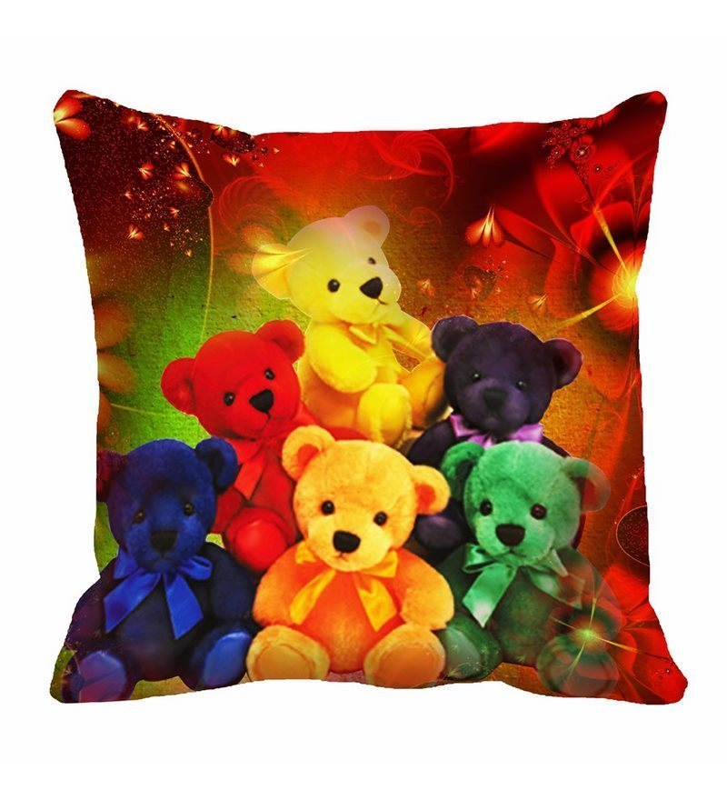 Multicolor Cotton 16 x 16 Inch Teddy Bears Digitally Printed Cushion Cover by Me Sleep