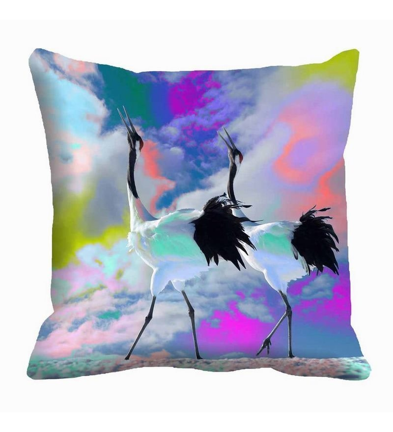 Multicolor Satin 16 x 16 Inch Cranes Cushion Cover by Me Sleep