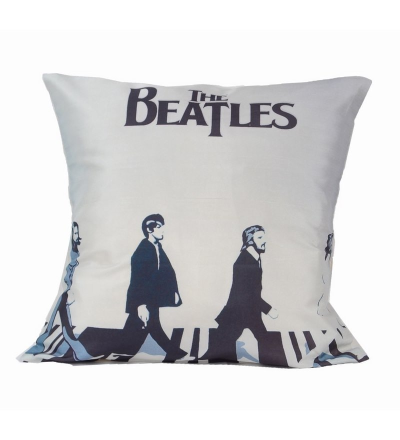 White Microfibre 12 x 12 Inch Beatles Digitally Printed Cushion Covers - Set of 5 by Me Sleep