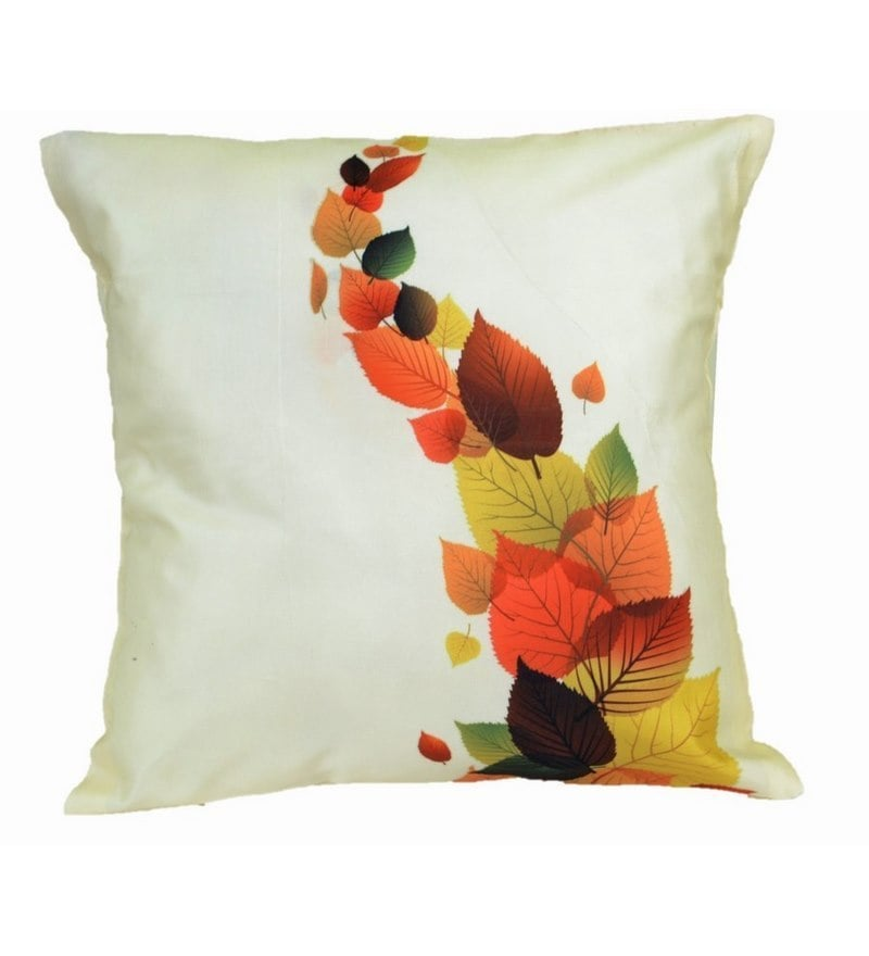 White Microfibre 12 x 12 Inch Painted Leaves Cushion Cover by Me Sleep