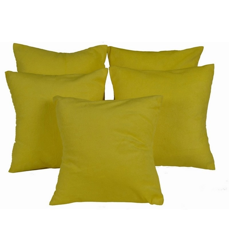 Yellow Satin 12 x 12 Inch Cushion Covers - Set of 5 by Me Sleep