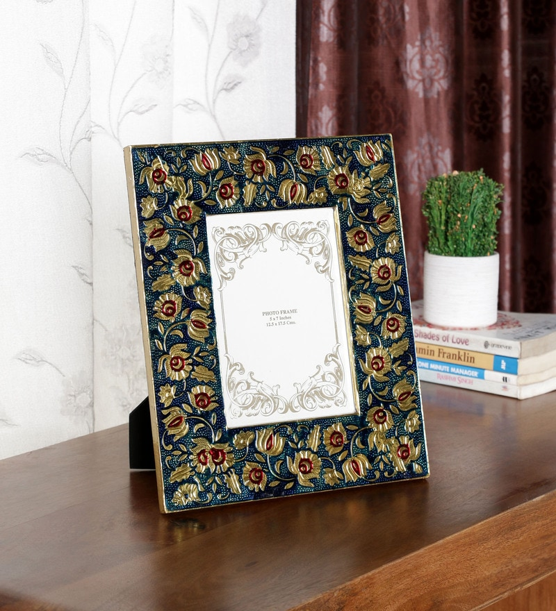 Multicolour Solid Wood 9 x 1 x 11 Inch Meenakari Photo Frame by Ethnic Clock Makers