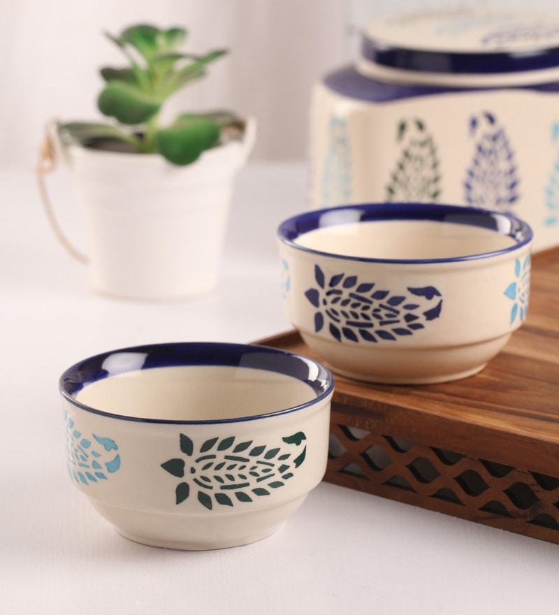 Meraki By Sonal Buti Blue And White Ceramic 200 ML Breakfast Serving Bowl - Set Of 4