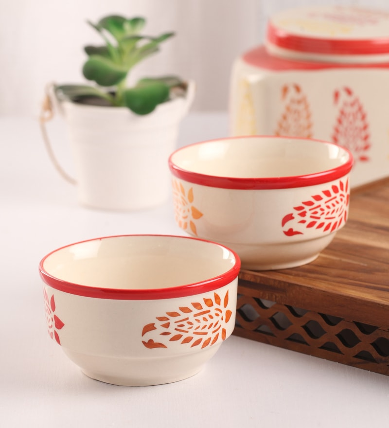 Meraki By Sonal Buti Red And White Ceramic 200 ML Breakfast Serving Bowl - Set Of 4