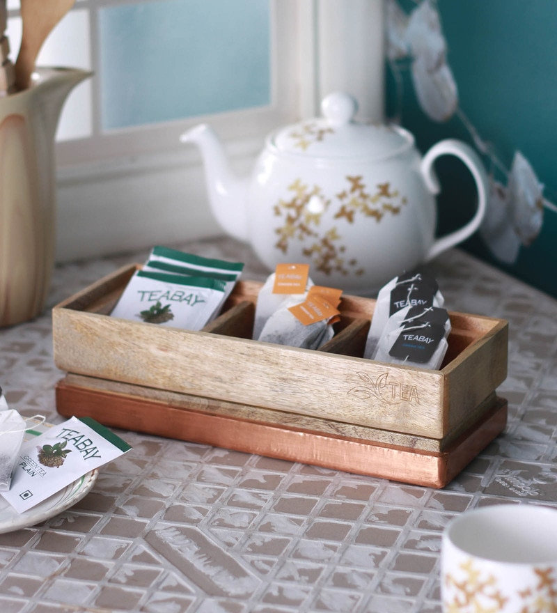 Meraki by Sonal Mango Wood & Metal Tea Box