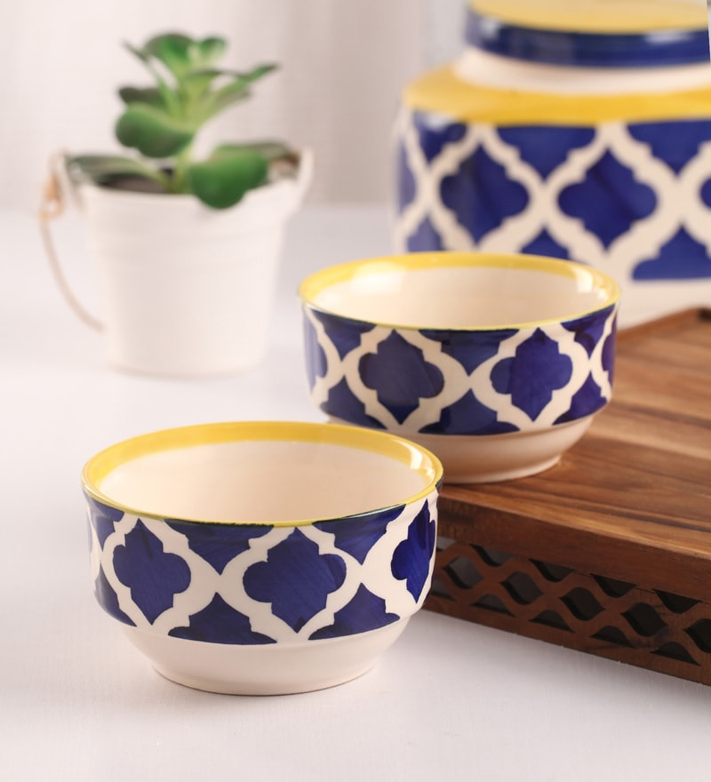 Meraki By Sonal Umrao Royal Blue Ceramic 200 ML Breakfast Serving Bowl - Set Of 4