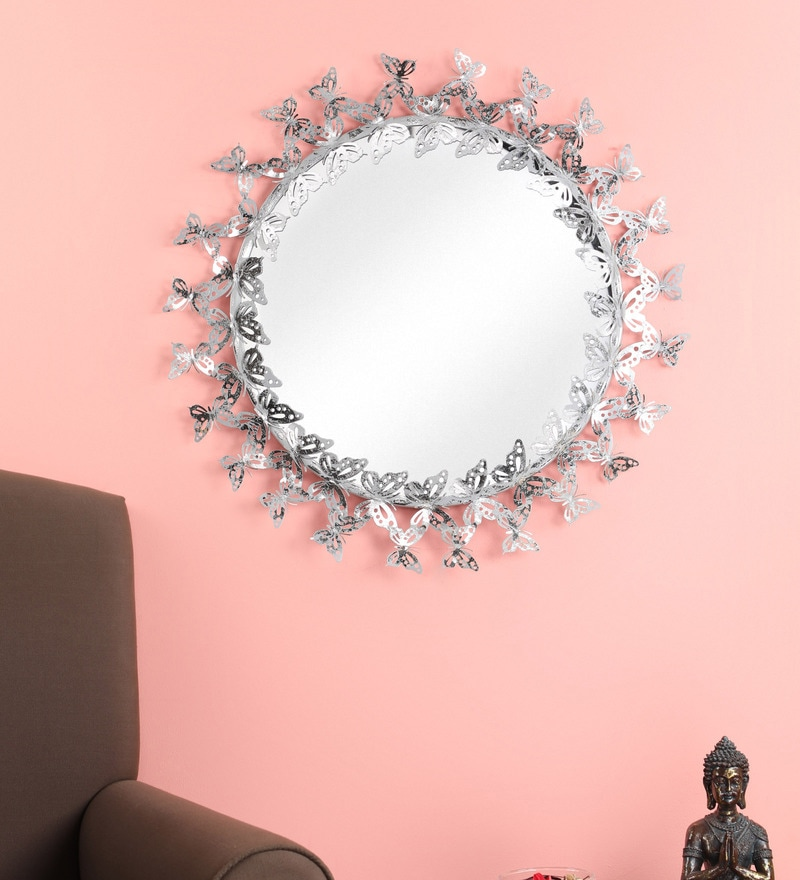 Metal Round Wall Mirror In Silver, Round Silver Wall Mirror Metal