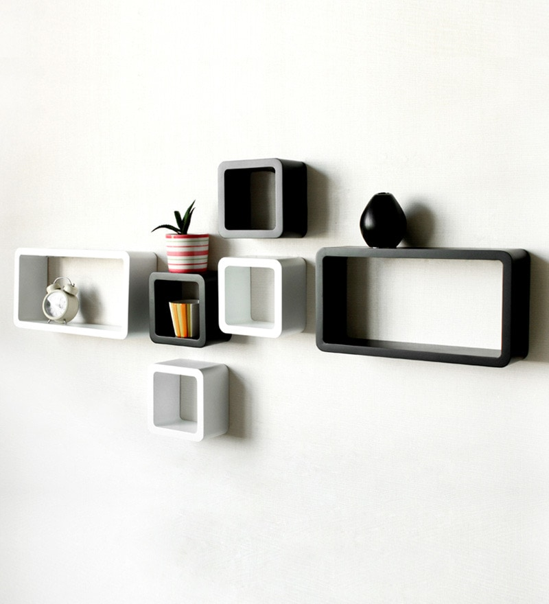 Buy Metal Style Black And White Blocks Wall Shelves Online Modern