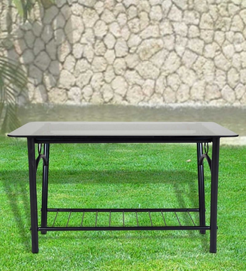 Metallic Centre Table with Glass top by FurnitureKraft