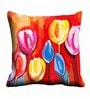 Multicolor Satin 16 x 16 Inch Abstract Tulips Cushion Cover by Me Sleep