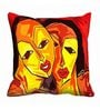 Me Sleep Red Satin 16 x 16 Inch Abstract Faces Cushion Cover