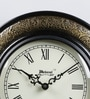 Black & Antique Gold Wooden 9.4 Inch Roman Round Wall Clock by Medieval India