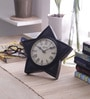 Medieval India Brown Wooden 6.3 x 1.2 x 6.3 Inch Star Shape Table Clock