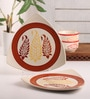 Meraki By Sonal Buti White & Red Ceramic Triangle Dinner Plate - Set Of 2