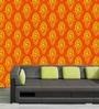 Orange PVC Abstract Print Wallpaper by Me Sleep