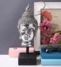 Micasa Silver Metallic Polyresin Buddha Head on Stand