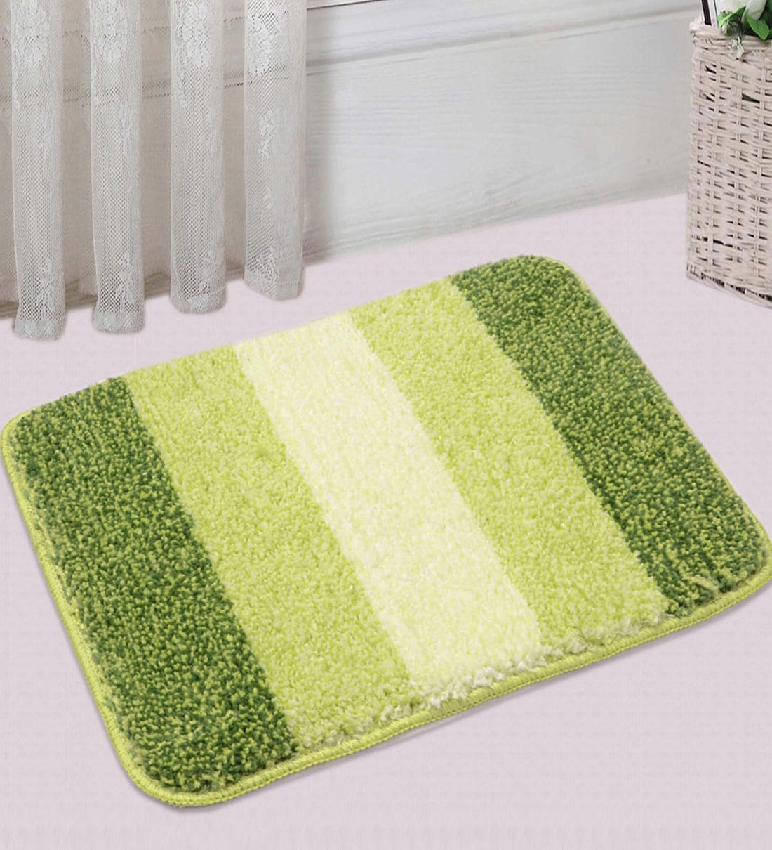 Buy Green Microfibre Plain Solid 20x14 Inches Antiskid Bath Mat Set Of 2 By Saral Home Online Solid Colour Bath Mats Bath Mats Furnishings Pepperfry Product
